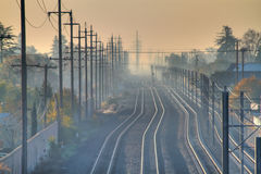 Hazy Train Alley HDR Horizontal Stock Photos