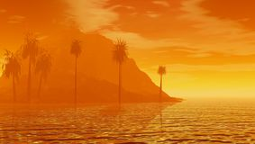 Hazy tropical sunrise. A bright orange view of the coastline of a tropical island during a hazy sunrise Stock Image