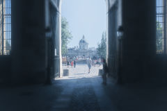 Hazy tunnel view out onto the streets of Paris Royalty Free Stock Images