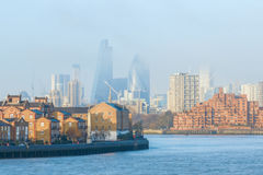 Hazy view of City of London. Seen from Canary Wharf Stock Photography