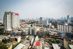 Hazy view of the Ratchathewi District, in Bangkok, Thailand. Stock Photos