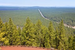 Hazy view of route 97 North from Lava Butte OR. Stock Photography