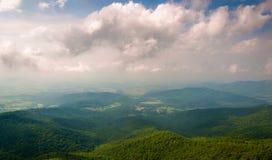 Hazy view of the Shenandoah Valley from Little Stony Man Cliffs, Virginia Stock Photo