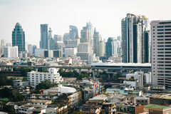 Hazy view of skyscrapers in Bangkok, Thailand. Royalty Free Stock Image