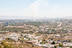 Hazy view of Windhoek from the south Royalty Free Stock Images