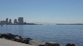Coronado Bridge and San Diego Downtown from Sunroad Resort Marina, San Diego, California, USA stock image