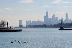 A Hazy Winter Skyline. This is a picture of a hazy winter afternoon skyline taken from Montrose Harbor in Chicago, Illinois.  This picture was taken on January Royalty Free Stock Photography