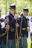 HB het Weer invoeren 42 van de Burgeroorlog - re-Enactors van Vrouwen stock foto