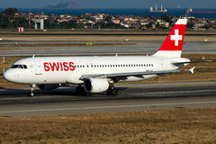 HB-IJS Swiss , Airbus A320-200. HB-IJS is rolling for take-off on runway 35L at Istanbul Atatürk Airport LTBA ,  August 28  , 2016 Stock Photo