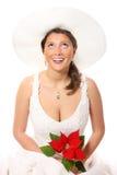 Hübsche Braut in einem Hut Lizenzfreie Stockfotos