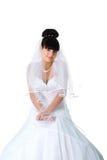 Hübsche Braut in einem weißen Kleid Lizenzfreie Stockfotografie
