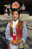 Hübsche Dame der Mann-ethnischen Minderheit, Yunnan, China Stockfoto