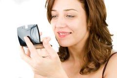 Hübsche Dame getrennt auf Weiß Stockfotografie