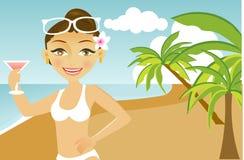 Hübsche Frau auf dem Strand Stockbild