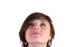 Hübscher Brunette, der oben schaut Lizenzfreies Stockfoto