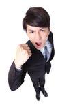 Hübscher Geschäftsmann mit den Armen hob in Erfolg an Stockbilder
