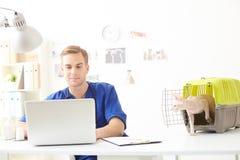 Hübscher junger Tierarzt, der Computer in der Klinik verwendet Stockbilder