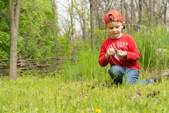 Hübscher kleiner Junge, der versucht, ein Lagerfeuer zu beleuchten Lizenzfreies Stockbild