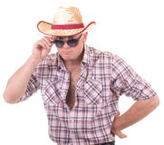 Hübscher Mann mit Cowboyhut Lizenzfreies Stockfoto