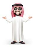 hübscher saudi-arabischer Mann 3D im Trachtenkleid Stockfotos