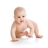 Hübsches kriechendes Baby auf weißem Hintergrund Stockfotografie