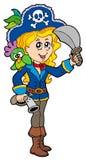 Hübsches Piratenmädchen mit Papageien Lizenzfreies Stockbild