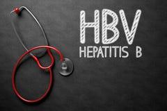 HBV Concept on Chalkboard. 3D Illustration. Medical Concept: Black Chalkboard with HBV - Hepatitis B. Medical Concept: HBV - Hepatitis B - Medical Concept on Royalty Free Stock Image