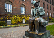 The HC Andersen's statue at city center in Copenhagen, Denmark. Stock Images