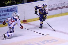 HC Pardubice versus HC Zlin - hockey Royalty-vrije Stock Foto