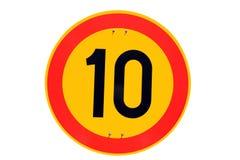 Höchstgeschwindigkeit-Verkehrszeichen 10 Kilometer pro Stunde Stockbild