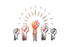 HCI, αυτοματοποίηση, τεχνολογία, ομάδα, έννοια ηγεσίας Συρμένο χέρι απομονωμένο διάνυσμα ελεύθερη απεικόνιση δικαιώματος