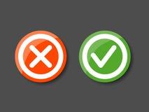 Häckchen-und Kreuz-Ikonen Lizenzfreies Stockfoto