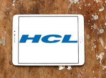 HCL Technologies logo. Logo of HCL Technologies on samsung tablet on wooden background . HCL Technologies Limited is an Indian multinational IT services company Royalty Free Stock Image