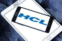 HCL Technologies logo. Logo of HCL Technologies on samsung mobile. HCL Technologies Limited is an Indian multinational IT services company Stock Image