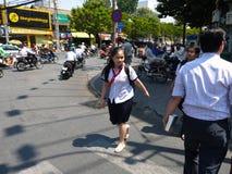 HCMC的女孩,越南 免版税图库摄影