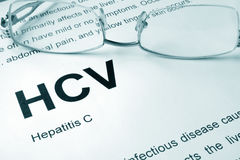 HCV written on a page. Hepatitis C. HCV written on a page.  Hepatitis C. Medical concept Royalty Free Stock Photography