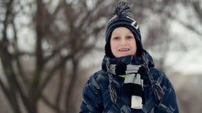 HD关闭站立在冬天公园和看在某事的男孩的射击与宽被打开的眼睛 影视素材