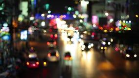 HD - Штриховатость светов ночи по мере того как мы путешествуем вниз с улицы города петля сток-видео