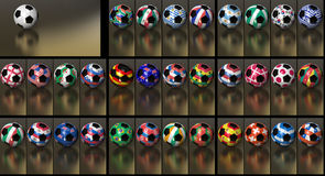 HD 1080 Soccer Collection World Cup 2010. Flags of all 32 participating nations on the hexagons of a soccer ball. Just replace the neutral ball on the background Royalty Free Stock Image