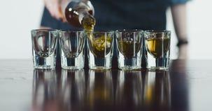 Алкогольный напиток бармена лить в стопки сток-видео