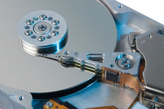 HD. Closeup of an hard drive with coloured light Stock Images