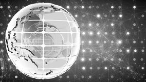 Abstract background with the rotation of the glass of the globe. Loopable. Black and white. stock footage