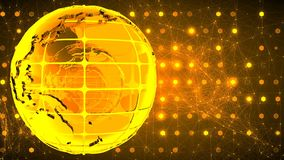 Abstract background with the rotation of the glass of the globe. Loopable. Golden. stock footage