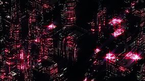 Abstract Night scene of red night city. Loopable.