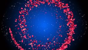 Abstract romantic background with flying purple hearts. HD Abstract romantic background with flying purple hearts stock video footage