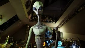 Alien presses the keys on sci-fi hologaphic screen. Realistic motion background. royalty free illustration