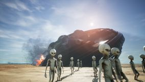 Aliens are evacuated from a fallen and burning spaceship