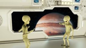 Aliens on a spaceship arguing on background planet Jupiter. A futuristic concept of a UFO. HD Aliens on a spaceship arguing on background planet Jupiter. A stock footage