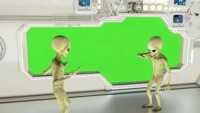 Aliens on a spaceship arguing. Green screen. A futuristic concept of a UFO.