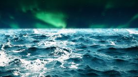 High quality animation of ocean waves with beautiful northern lights on the background. Looping. HD animation of ocean waves with beautiful northern lights on stock video